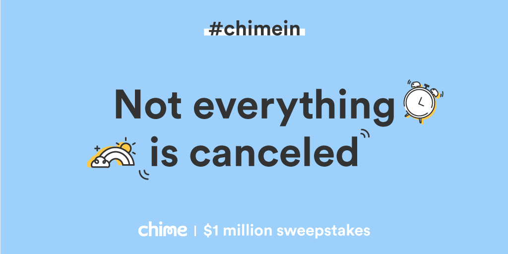 Time to #ChimeIn for a chance at $200! 💚 Your 24 hours starts NOW. Good luck! How to enter:  1. Follow @Chime on Twitter 2. Retweet this! Feel free to drop in some words of encouragement to spread the love! Winners can only win once. #ChimeSweeps Rules: