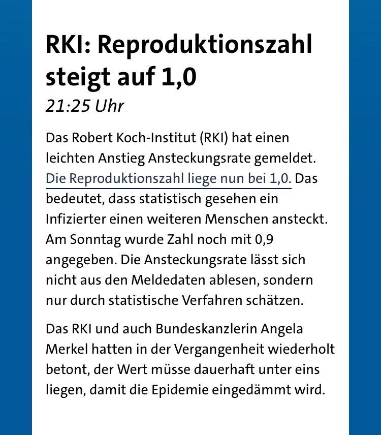 Habt Ihr Euch gemerkt, was Angela Merkel vorgerechnet hat? Bei 1,1 sind alle Intensivstationen in Deutschland im Oktober überfüllt, bei 1,2 im Juli und bei 1,3 um Juni. Wie wäre es mit noch ein paar Lockerungen? https://t.co/RRrI4WFBWj
