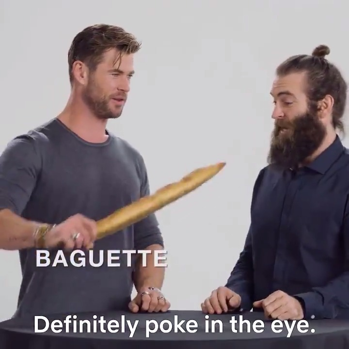 Replying to @NetflixFilm: In which @ChrisHemsworth shows you how to use a bag of wine and a baguette in a fight