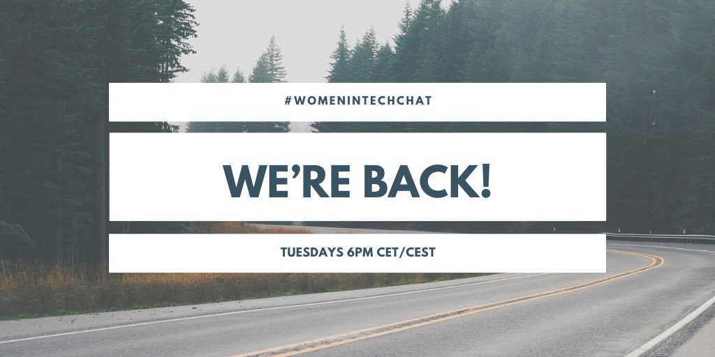 #WomeninTechChat is back!   Join us tomorrow and every Tuesday at 6PM CET/CEST. You're welcome to take part at any time throughout the week if you can't make it. Thank you for your patience and support!   @Google Calendar link: https://t.co/15YXlv5NZ7  #WomeninTech #WomenWhoCode https://t.co/q0FS7WQKU4