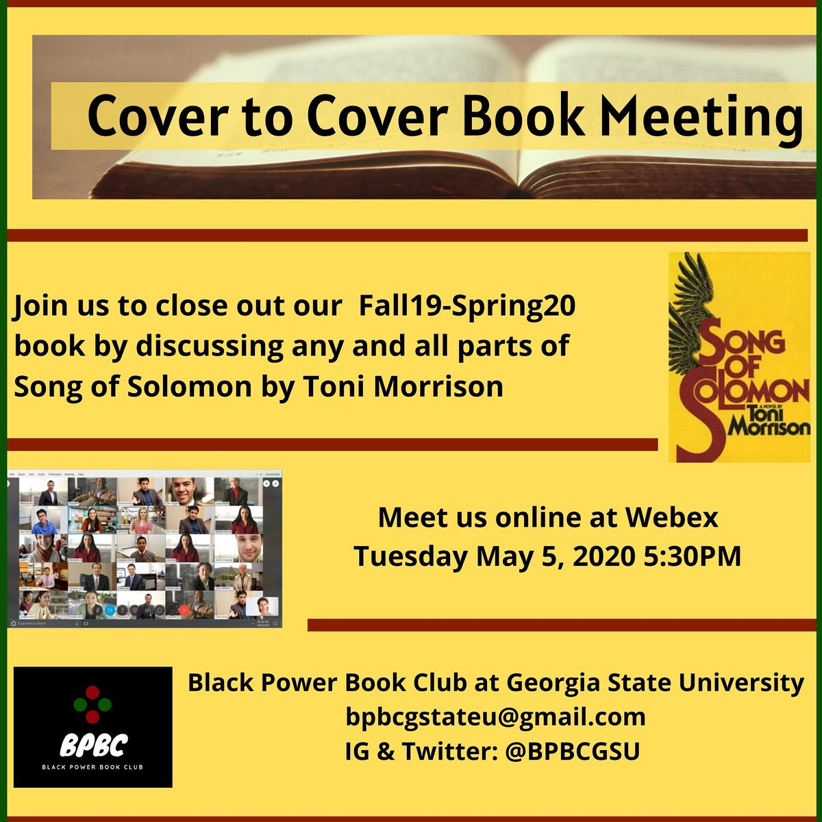 Join Black Power Book Club to discuss Song of Solomon by #ToniMorrison !   All #GSU students have a free Webex account. DM us for meeting info!   #GeorgiaStateUniversity  #GSU21 #GSU22 #GSU23 #GSU24 #Atlanta #ATL #College  #CollegeLife https://t.co/6MG7f2EvQf