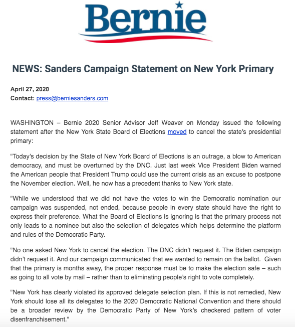 Our campaign statement on the New York State Board of Elections decision to cancel the state's presidential primary: