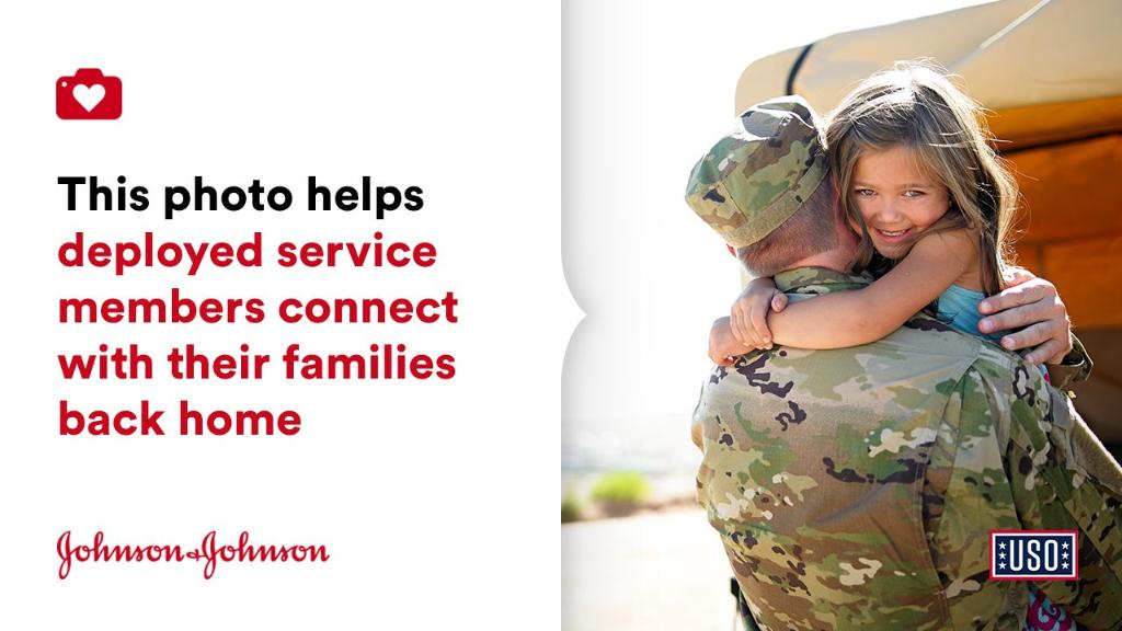 The USO's mission of connection is more important than ever. For every photo you donate through the @donateaphoto app, Johnson & Johnson gives $1 to the USO. That $1 will help service members stay in contact with loved ones: https://t.co/WTD2CcAP6C #DonateAPhoto https://t.co/fSpeLEuYwk