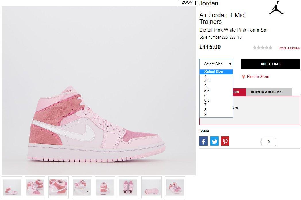 Sneaker Myth On Twitter Ad Air Jordan 1 Mid Wmns Digital Pink
