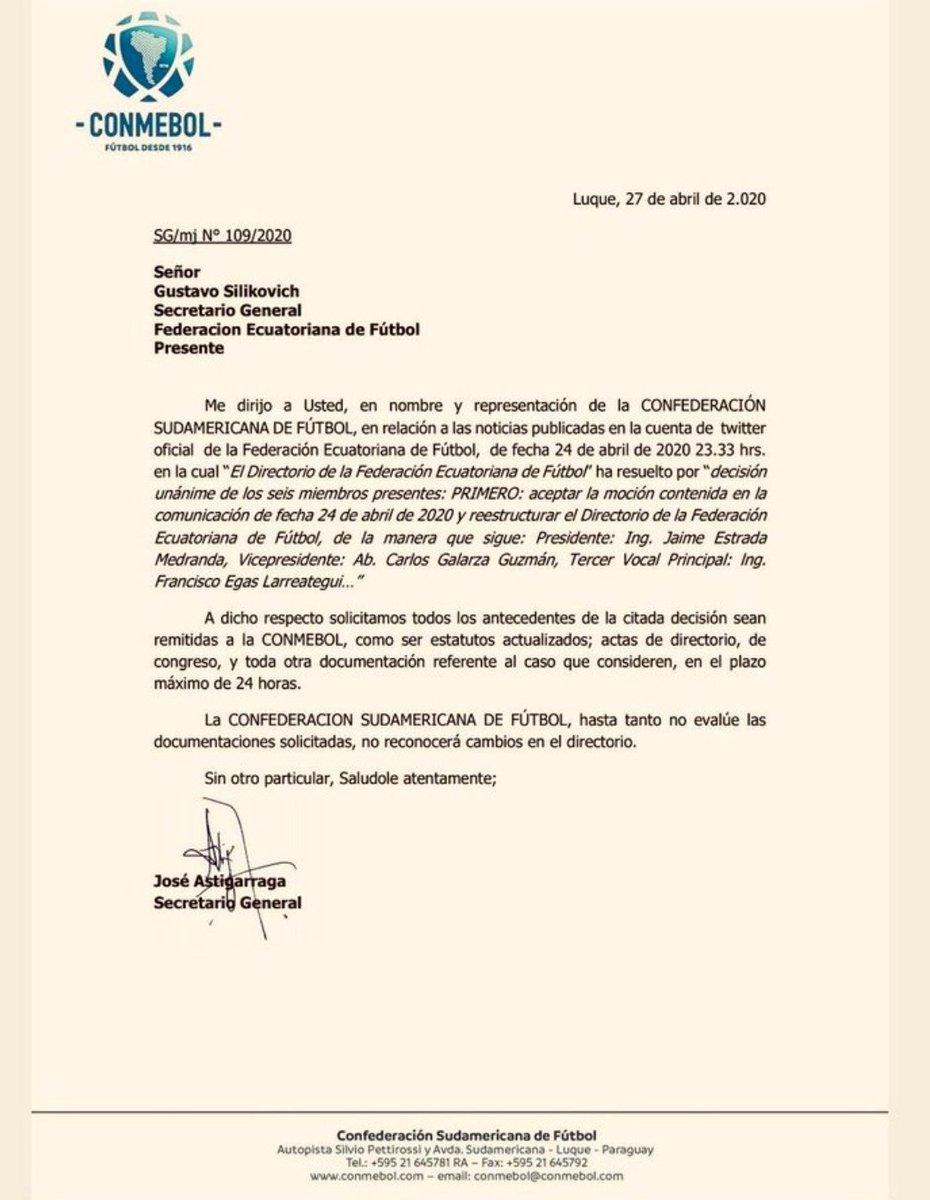 La @CONMEBOL solicita información sobre lo actuado en la @FEFecuador respecto a la destitución de @franciscoegas. Tras analizar el tema, el organismo se pronunciará sobre el caso. https://t.co/kzFuvMjY7o