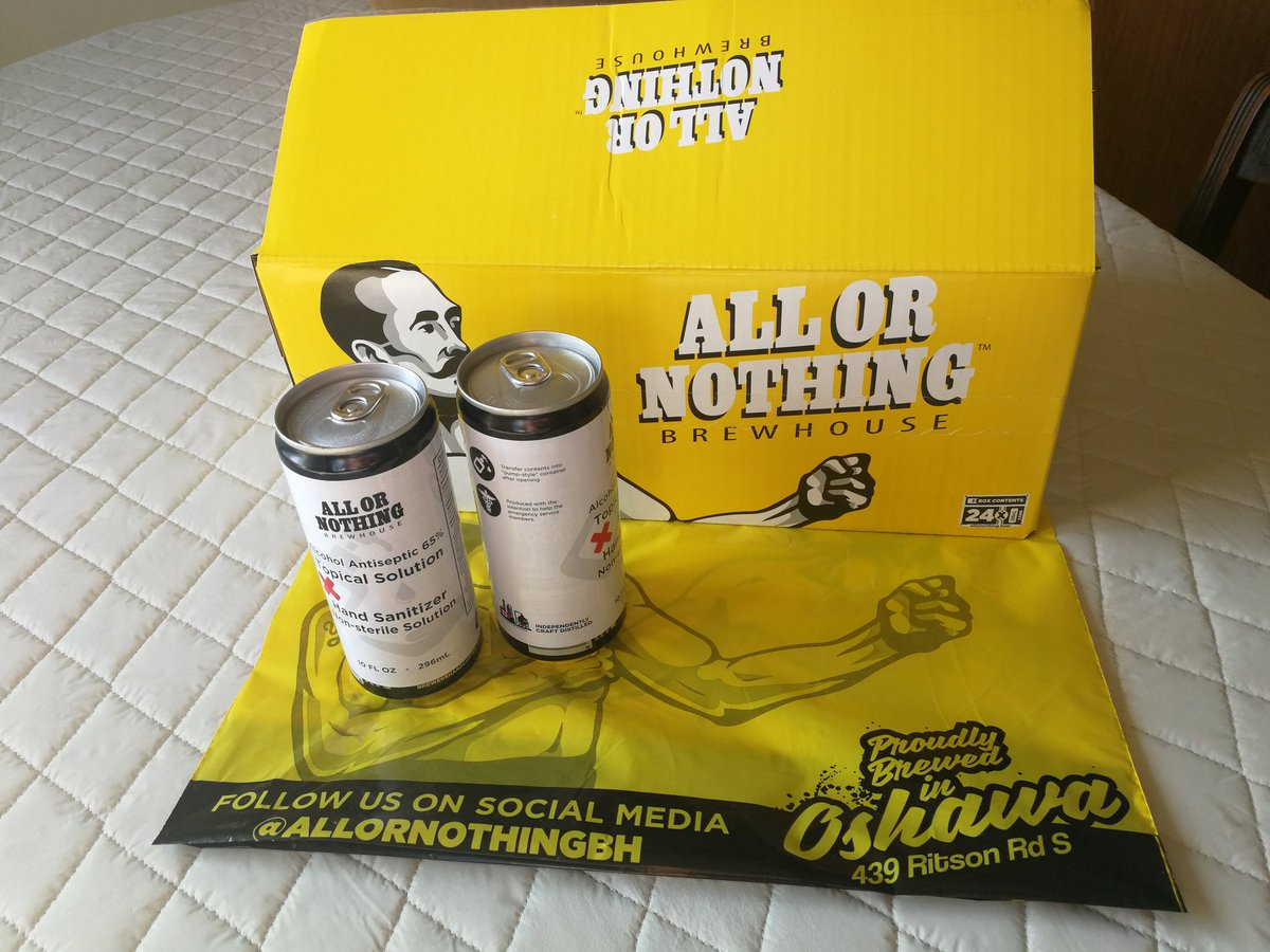 "Oshawa's local craft brewery @AllorNothingBH has been ""brewing"" hand sanitizer for frontline healthcare workers. It's now available to order online for contactless curb-side pick-up or via Canada Post. Cheers, All or Nothing! (Beer is also available!)#Oshawa #community #shoplocal https://t.co/cWnLg3cC4d"