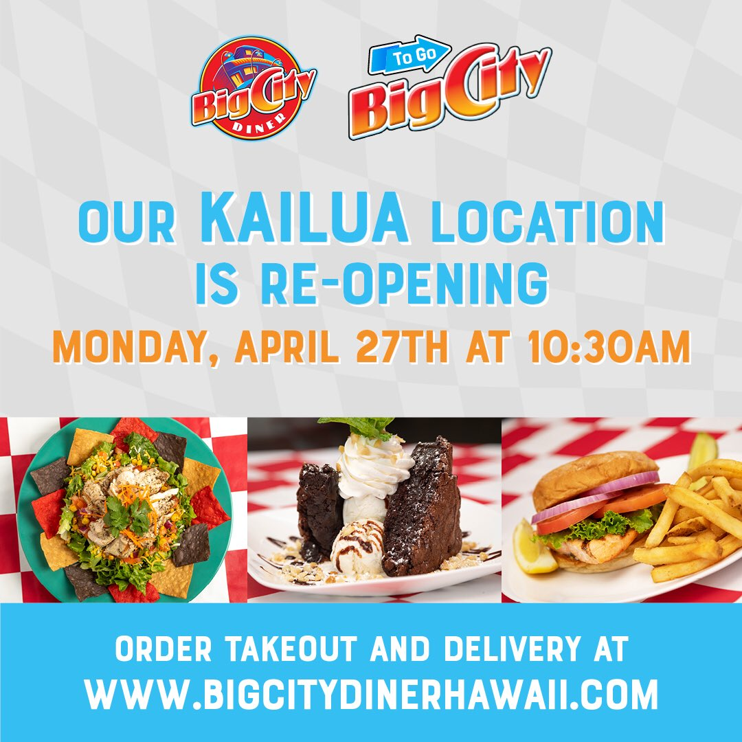 @BigCityDiner in @KailuaNEWS is OPEN for business...Keeping our streak of 18 years ALIVE! #BigCityDiner #Kailua #ComfortFood #SupportLocalEatLocal #EveryOrderCounts #FoodAGoGo https://t.co/OQqljZbAVC