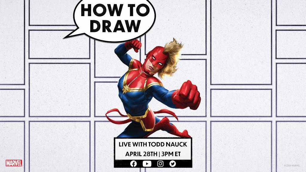 Go higher, further, faster with artist @ToddNauck for a LIVE drawing lesson featuring Carol Danvers, AKA Captain Marvel! #MarvelAtHome Facebook, YouTube, and Twitter: 3PM ET Instagram: 4PM ET