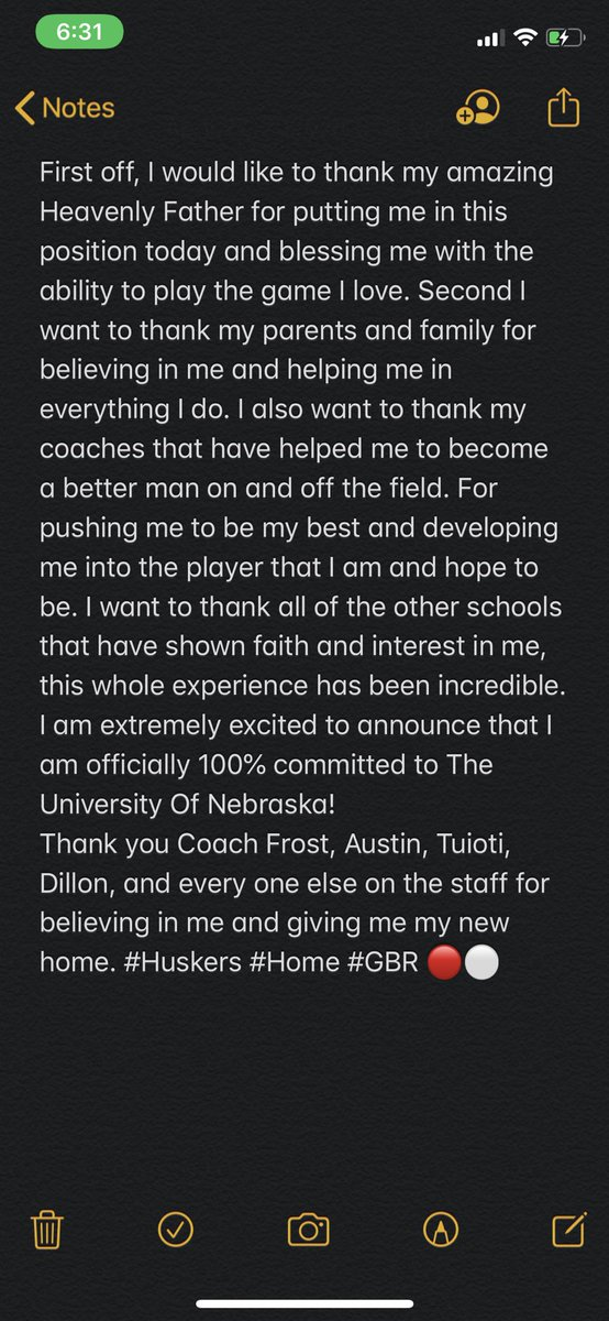 I am 100% committed!  @coach_frost @GregAustin2717 @CoachTuioti92 @SeanDillonNU @HuskerFBNation @NEB_Recruiting  #GBR #Huskers https://t.co/rZga7l70Th