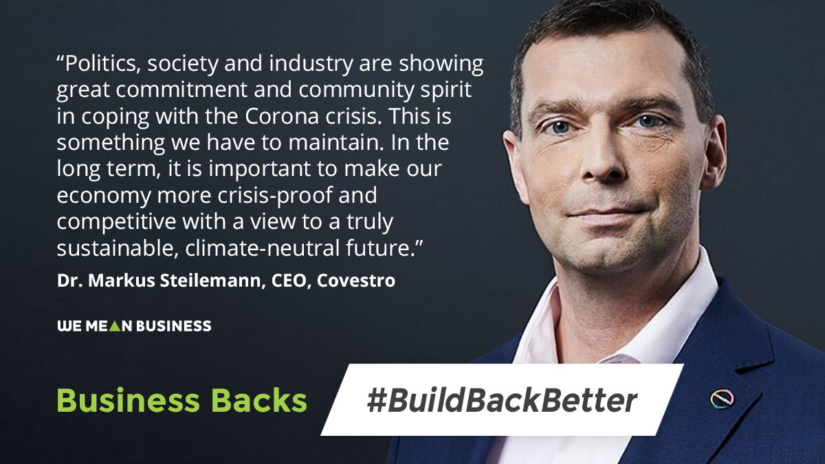.@covestro CEO, @MSteilemann joins 68 Germany companies from all sectors of the economy calling for a zero carbon recovery. Business Backs #BuildBackBetter: bit.ly/3cMkNRs @Stiftung2Grad #G20