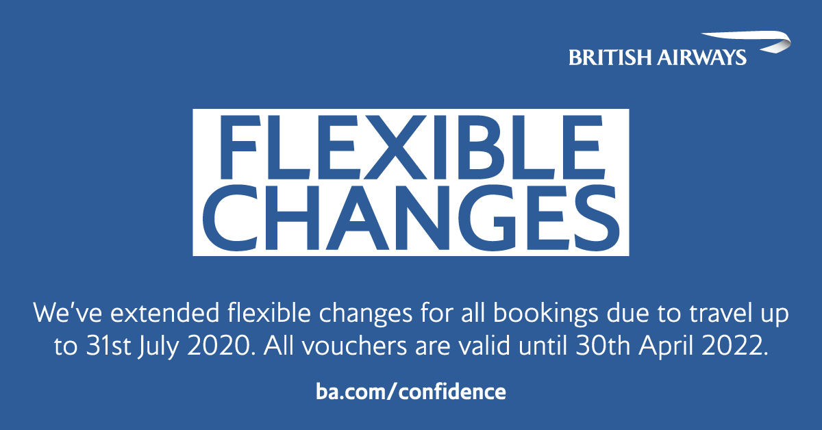 Due to the continued uncertainty around #COVID19, we've extended our flexible change policy for anyone due to travel up to 31 July 2020. All new and existing travel vouchers issued under the policy are now valid until 30 April 2022. Visit https://t.co/OvVGSRdIO4 for more info https://t.co/eyCbWDdaxL
