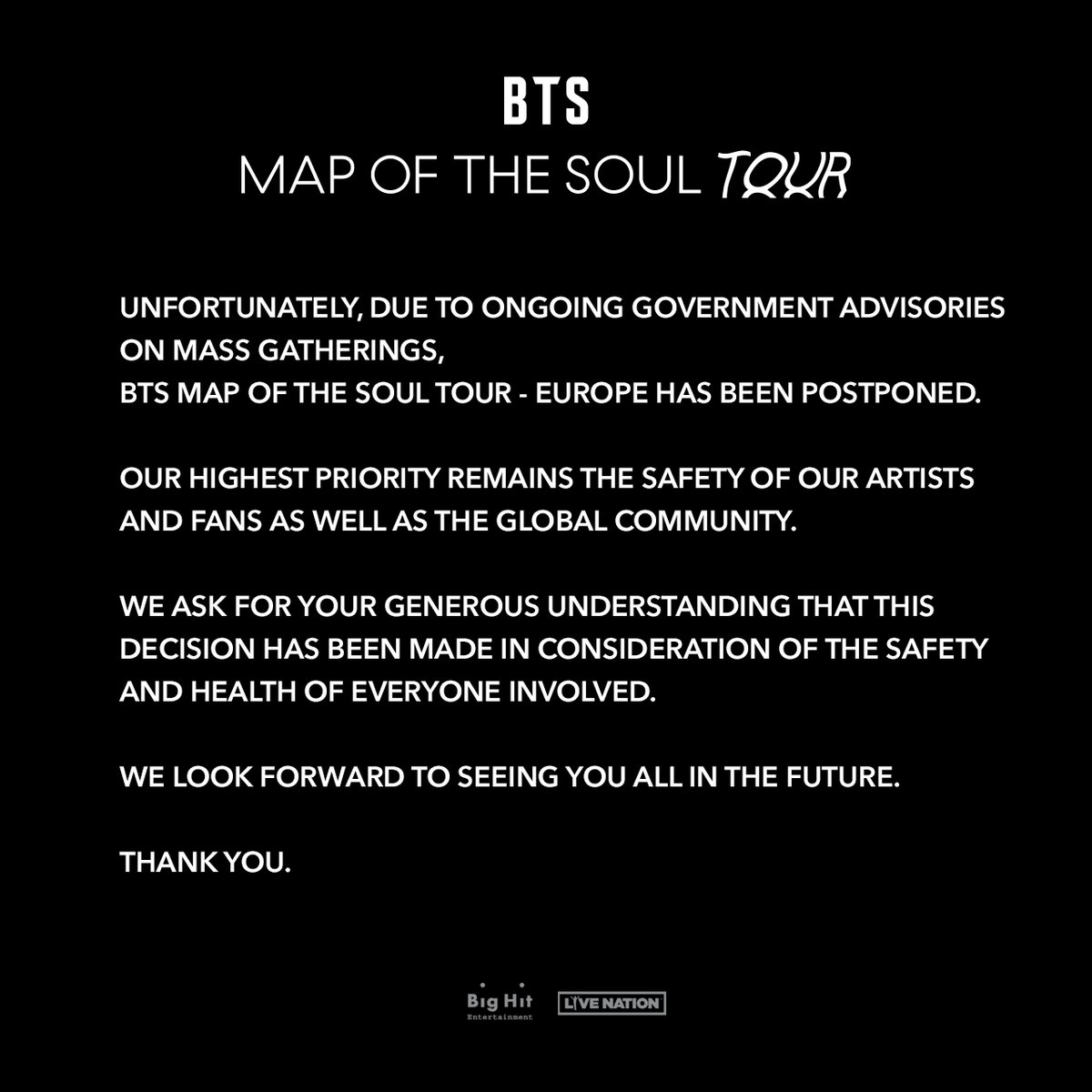Een aankondiging met betrekking tot BTS MAP OF THE SOUL TOUR: Europese tour en voorverkoop uitgesteld.   An announcement regarding BTS MAP OF THE SOUL TOUR: European tour and on sale postponed.  Info: https://t.co/Kl7TO1CgBQ https://t.co/WAVoch4YHc