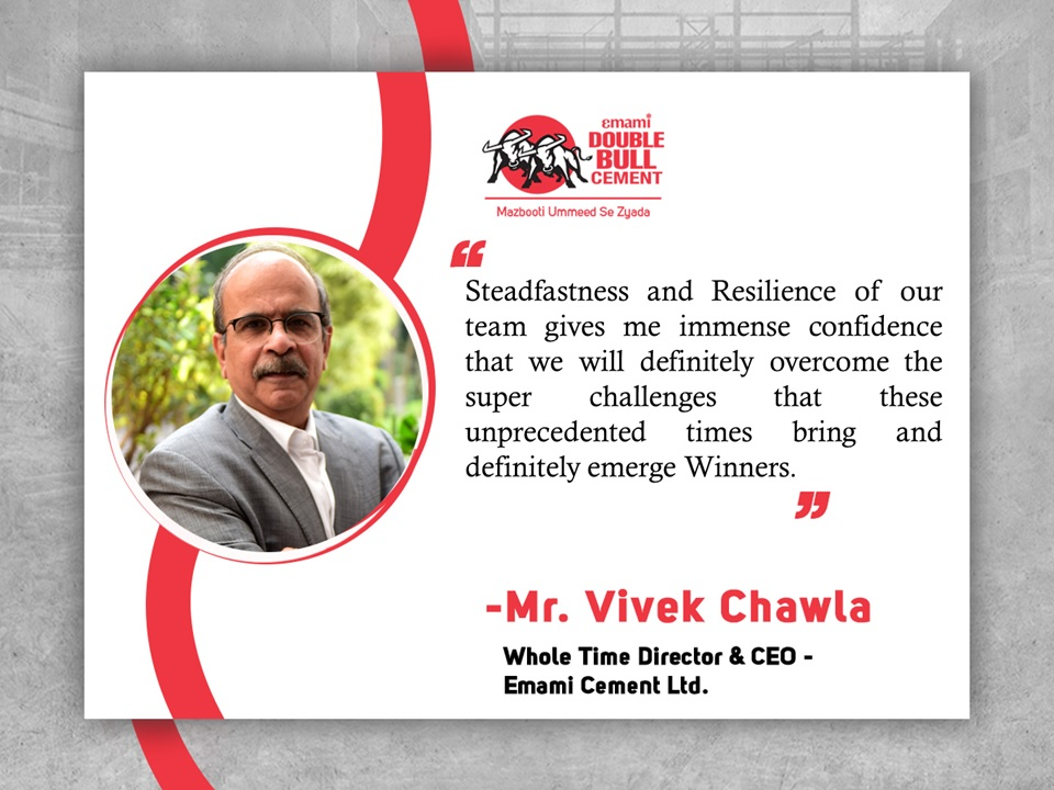 From the desk of Mr. Vivek Chawla – CEO , Emami Cement Ltd #ManagementQuotes  #CEOQuotes  #EmamiDoubleBullCementpic.twitter.com/gCgBNF02Tu