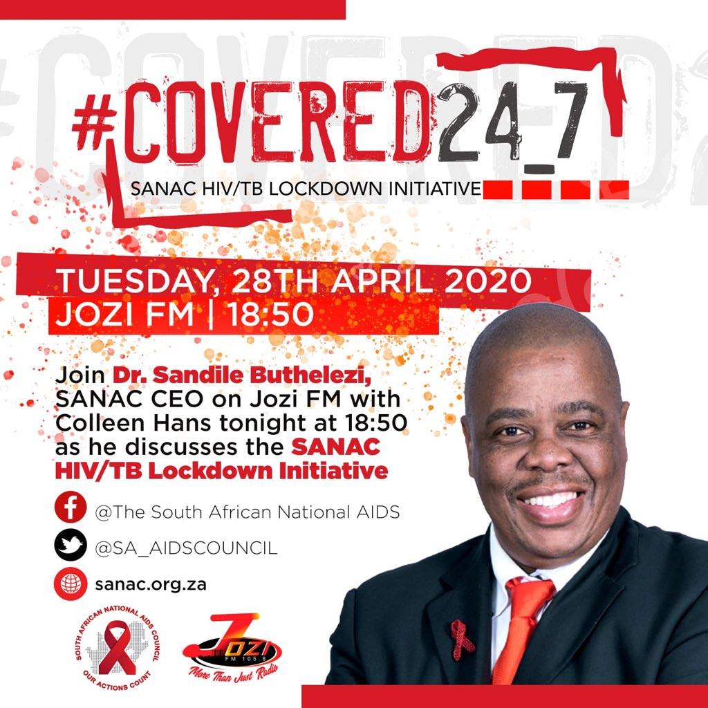 .@SA_AIDSCOUNCIL 's #HIV #TB #Lockdown campaign launched tonight Hashtag #COVERED24_7