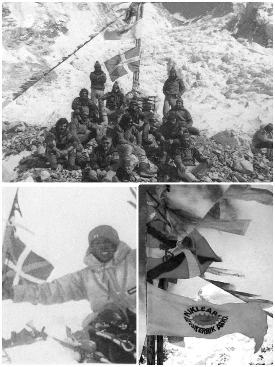 #GaurkoEgunez duela 40 urte 1980an, #MartinZabaleta hernaniarrak Everesteko gailurra erdietsi zuen, Pasang Temba sherparekin batera. Euskaldun talde batek egin zuen espedizioa.  Gailurrean ikurrina, Nepalgo bandera, nuklearren aurkako ikurra eta ETAren anagrama jarri zituzten https://t.co/3aVg8EWwhq
