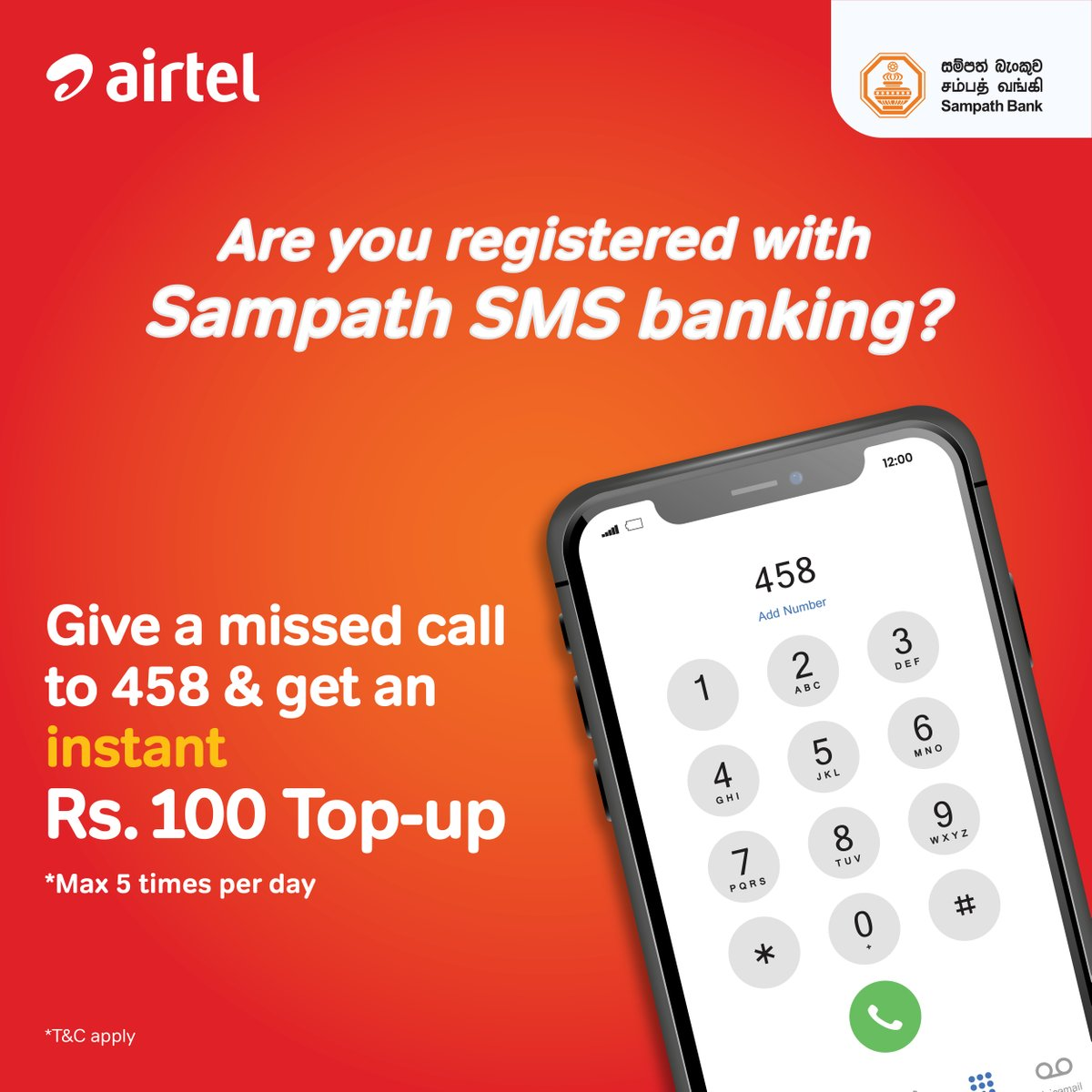 Introducing Sampath Bank Missed Call top up Service on Airtel! Simply give a missed call to 458 & get Rs.100 Top-Up to your SMS banking registered airtel connection. This service is applicable for Sampath bank account holders. Valid for prepaid and postpaid customers 😎 https://t.co/BhxeZhh5DM