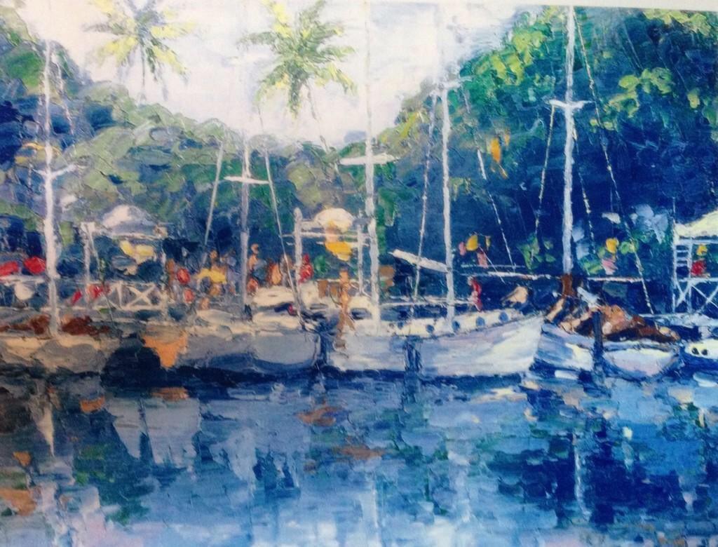 """Lahaina Harbor""11x14 palette knife oil painting by Peggy Ann Thompson http://www. peggyannthompson.net     #art #ArtistOnTwitter #artwork #painting #maui<br>http://pic.twitter.com/UCguvpCVG7"