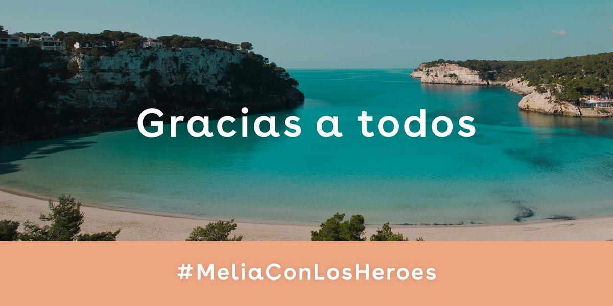 ¡Nuestra iniciativa solidaria #MeliáConLosHéroes ha tenido un éxito extraordinario! Gracias a todos por habernos ayudado a llegar a 10.000 sanitarios en España. Esperamos poder recibir a nuestros #HéroesSinCapa muy pronto para sus merecidas vacaciones. https://t.co/QXuDLVGJ4V