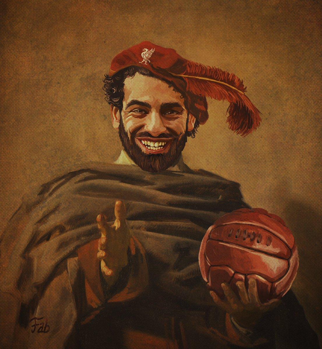 When art meets Football. Joyful Mo Salah after his hat trick, Unknown Rembrandt's school circa 1660. #momosalah #ynwa #lfc #egypt #footballart https://t.co/psIarEZkFR
