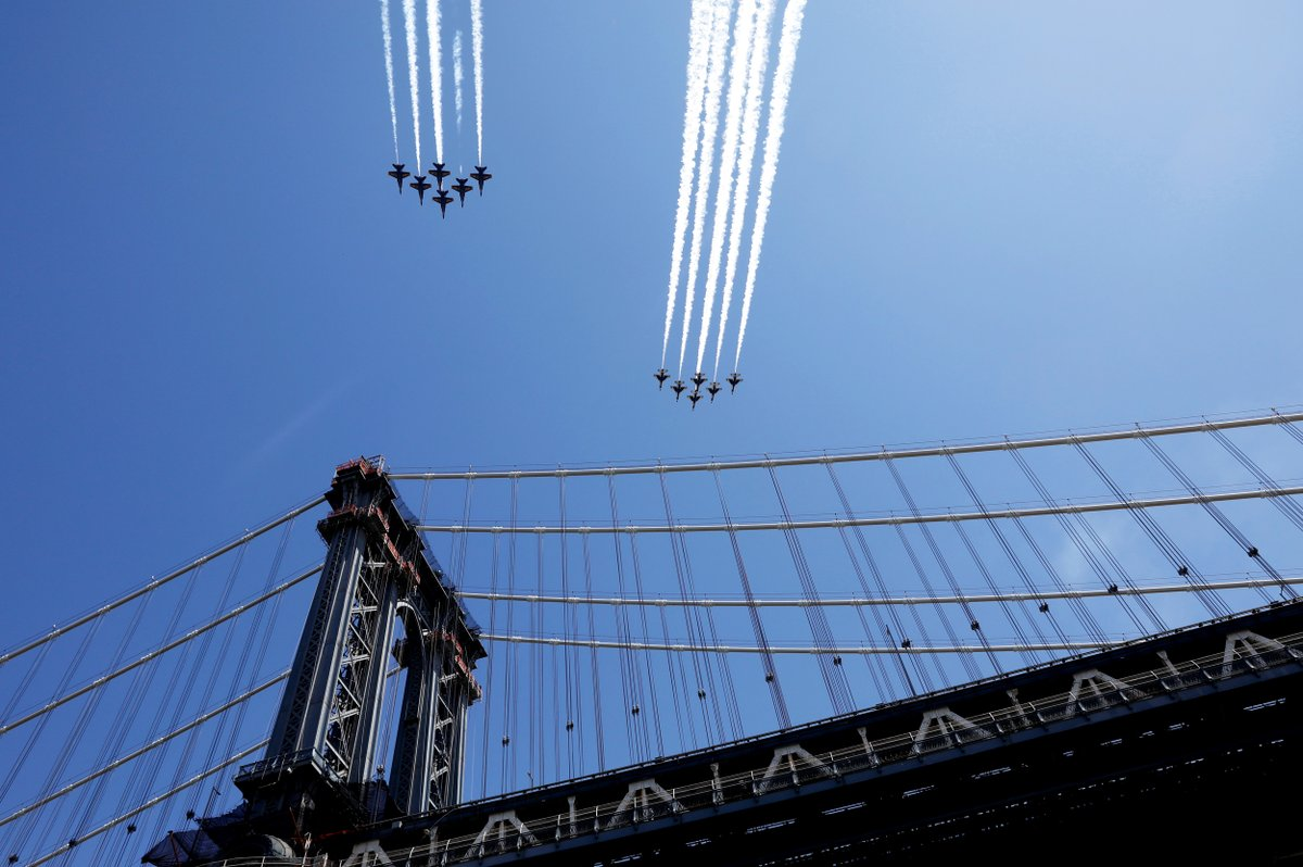 US Navy Blue Angels and US Air Force Thunderbirds demonstration teams fly over Manhattan bridge in NYC.   (Photo: Brendan McDermid/Reuters) https://t.co/dDbAX7nGol