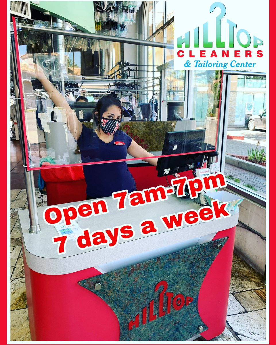 We are still open for business, 7am-7pm, 7 Days a week. We also have free delivery!! Call us today 818-505-4145 #onesocal #hilltopcleaners #encino #drycleaners #laundry #fluffandfold #tailoring #shermanoaks #tarzanapic.twitter.com/yobUdqasXc