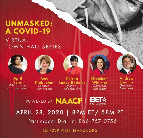 Tonight at 8pm The NAACP is hosting a virtual town hall titled Unmasked:A COVID19 Click the link here to RSVP https://t.co/UxUolVpim2 or tune into https://t.co/3OYSSfIoPF to tune in to our LIVE Watch Party. https://t.co/IcGiXJWAdw