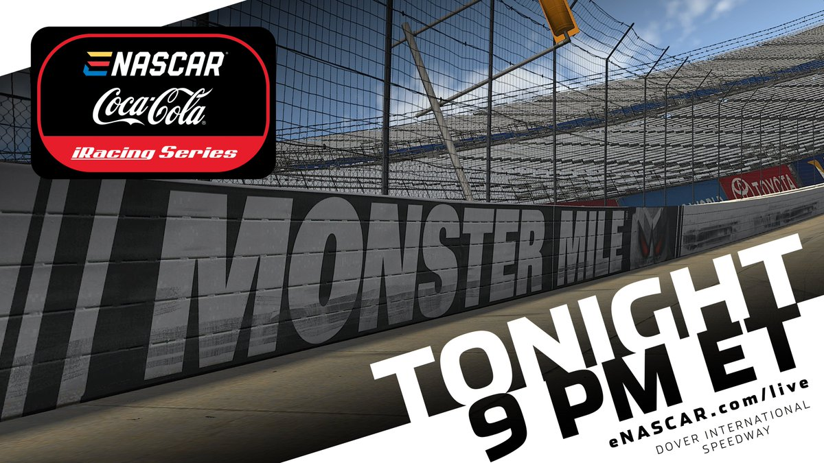 Tonight at 8 pm CT, the eNASCAR Coca-Cola iRacing Series roars into the @MonsterMile! Catch all the action on eNASCAR.com/live!