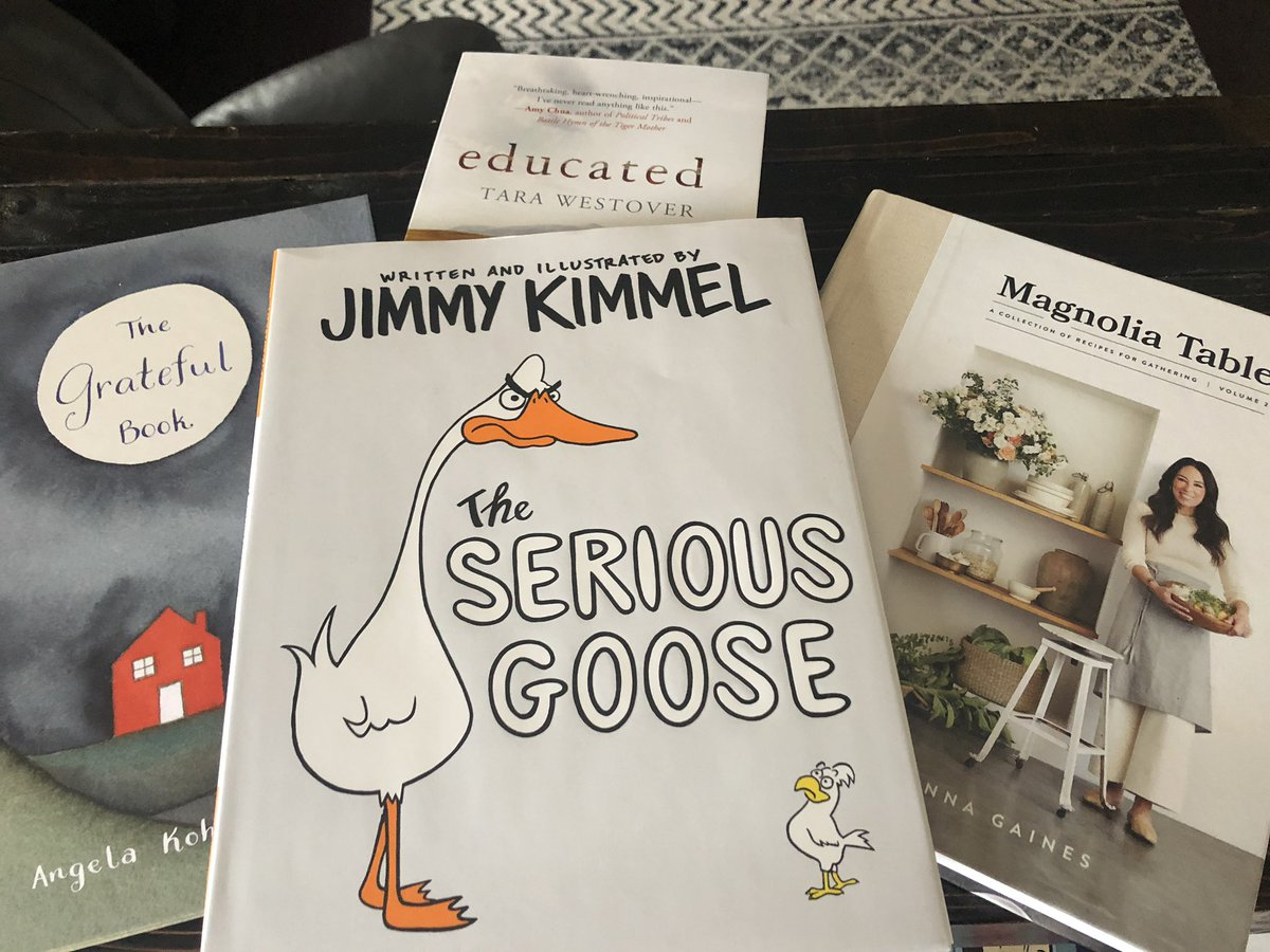 Highlight of the day! Receiving these in the mail! 😍 @joannagaines @jimmykimmel #magnoliatable #theseriousgoose #grateful #educated