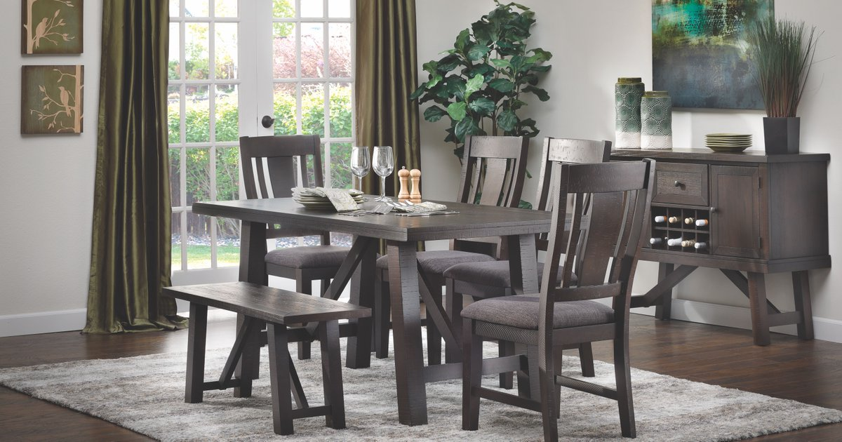 Furniture Row On Twitter Rustic Farmhouse Style Dining For Under 500 Shop The Granada 4 Pc Set Online 24 7 Https T Co Z27pxtmy3g Bench And Server Shown Are Sold Separately Find Out