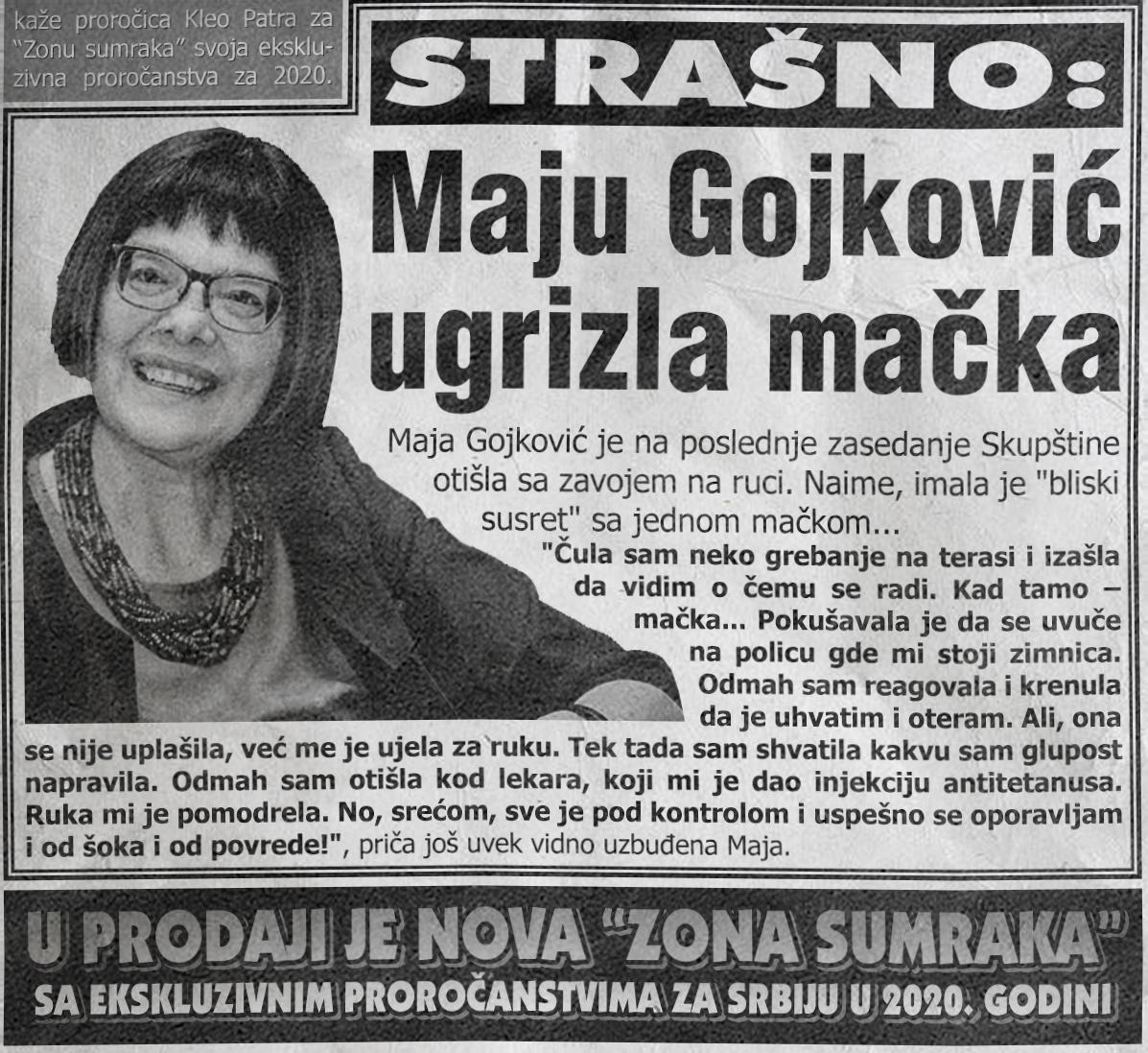 Maju Gojković ugrizla mačka!