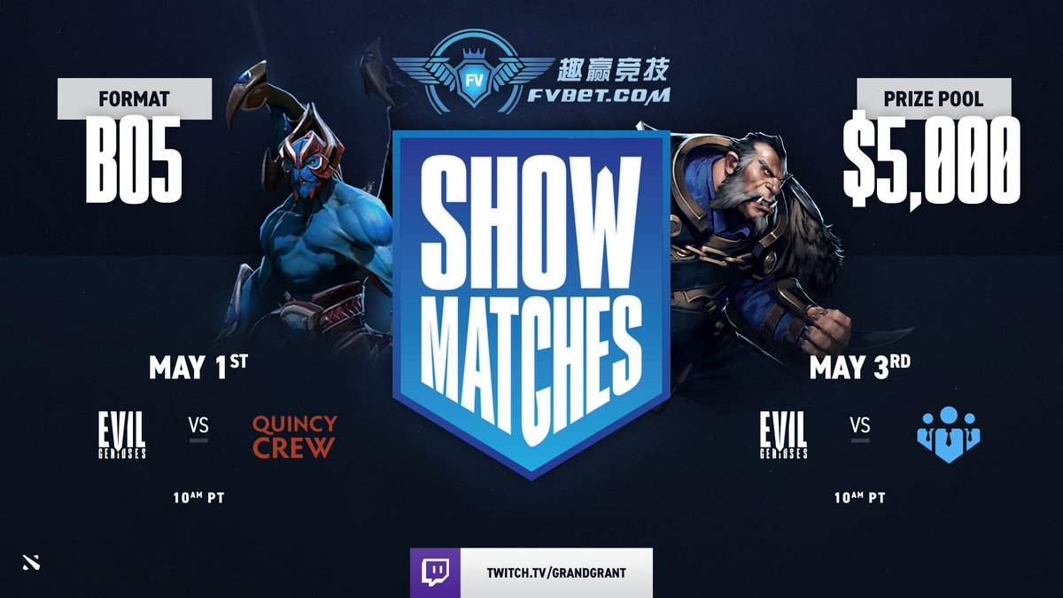 We bet you won't want to miss this!  Join the #EGDOTA boys as they face off against Quincy Crew and Business Associates this weekend in a pair of winner-takes-all FVBET show matches. Odds are it'll be Evil! #LIVEEVIL https://t.co/yMZuFvtyT6