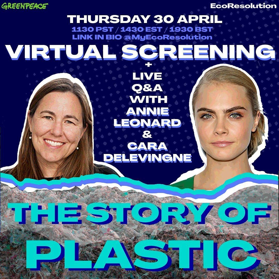 Tune in Thursday for a virtual screening of The Story Of Plastic followed by a live Q&A with me & Annie Leonard, executive director of Greenpeace & author of The Story Of Stuff. Join us for a discussion & bring your questions! Register:  @MyEcoResolution