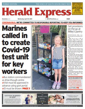 Today in the @TQHeraldExpress - Covid survivor thanks Torbay Hospital 'angels' - Marines man Torquay testing station - Smiley Miley's kerbside pantry - Worldwide following for Bay support group - Hospital doctor's garden marathon - and much more #buyapaper #localnewsmatters https://t.co/smJkQhWp8Q