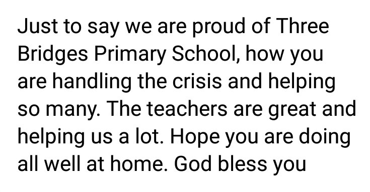 Even when we're apart, we're together. A message from a parent this morning: