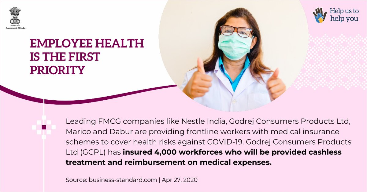 Corporates and leading FMCG companies of the country are taking all measures to safeguard the health of their employees. Kudos to their initiatives.  #IndiaFightsCorona #SupplyWarriors #SwachhBharat  @PMOIndia @COVIDNewsByMIB @GodrejAppliance  @NestleIndia @maricobuzz @DaburIndia https://t.co/0HFaXRNoce