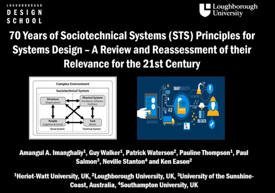 Noor Din Data Scientist Direct Line Group On Twitter Speaker 3 70 Years Of Sociotechnical Systems Sts Principles For Systems Design A Review And Reassessment Of Their Relevance For The