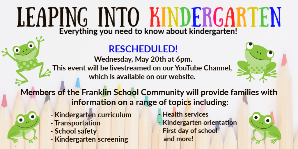 Our Leaping Into Kindergarten - rescheduled to May 20 via YouTube Live