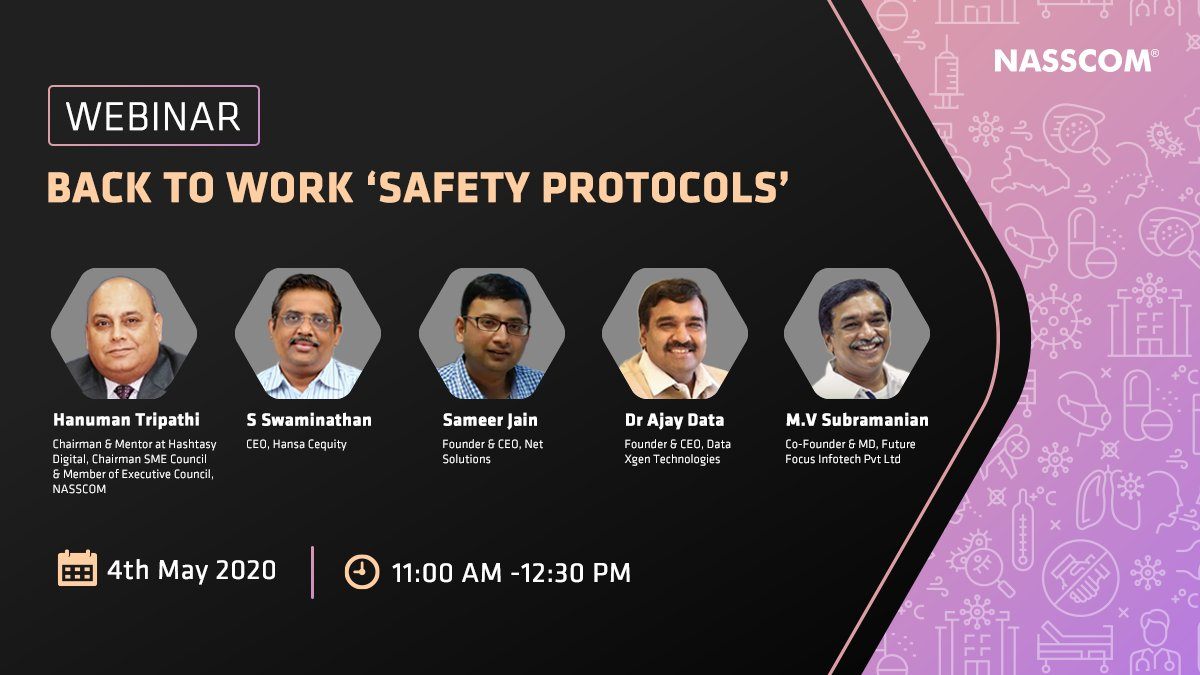 test Twitter Media - The #NewNormal would require us to find ways to coexist with the virus. With this in mind, we are organizing a webinar on critical workplace #safety protocols.   Mark your calendar Monday, 4th May 2020  11AM-12.30PM  Register now: https://t.co/LYoZcWnJLJ  @nasscom #webinar https://t.co/RBu6fuWSUp