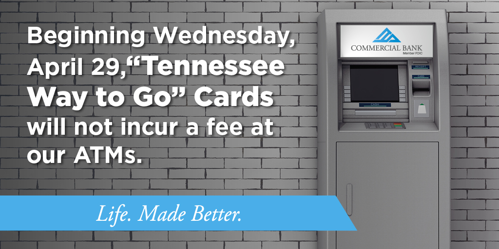 Beginning today, the TN Unemployment Cards will not incur a fee when used at Commercial Bank ATMs. Visit https://t.co/pixXsSs7bn to find an ATM near you. #coronavirus #TNWaytoGo #LifeMadeBetter https://t.co/WEbTlhM6Zo