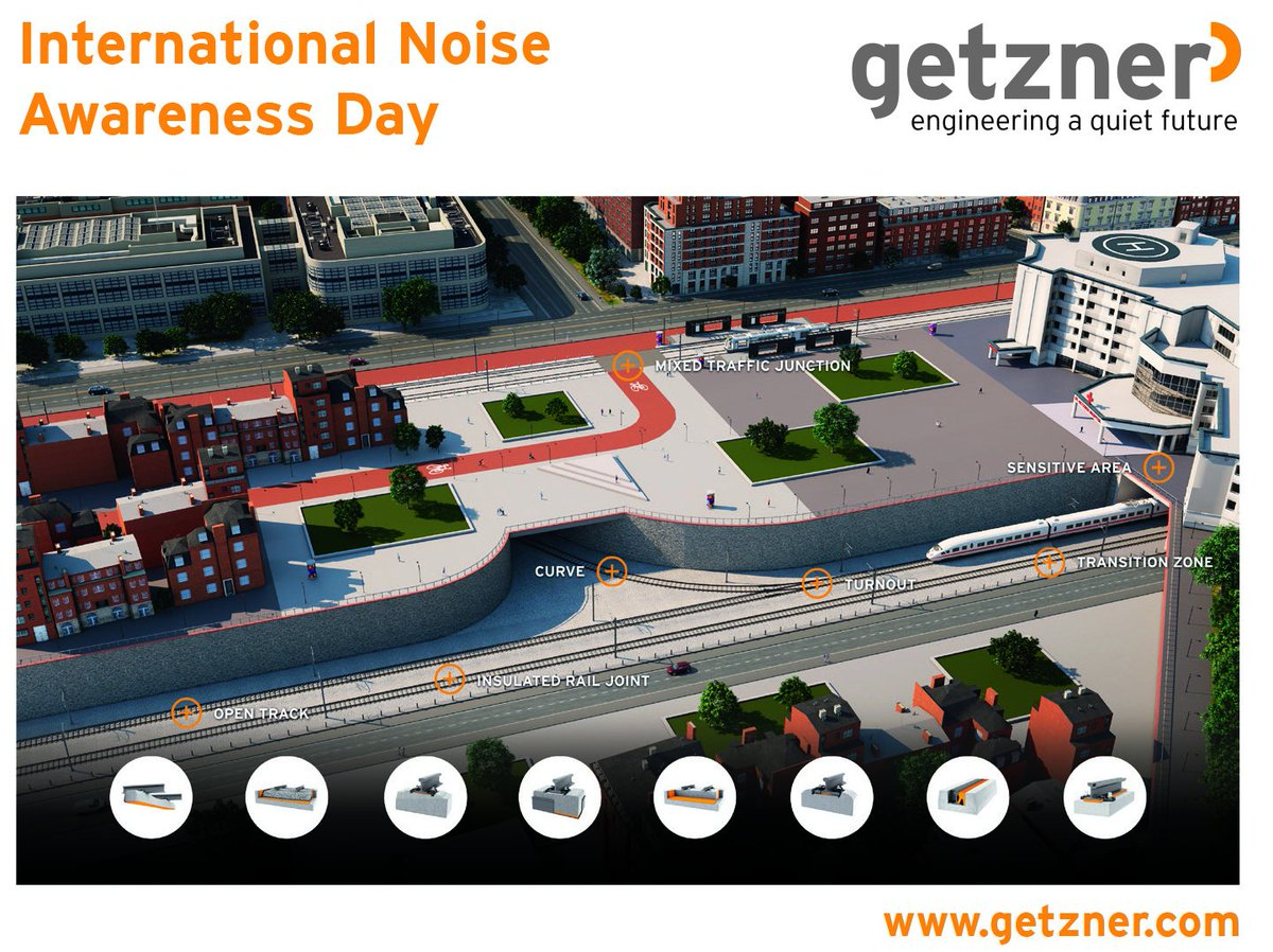 Featuring the international noise awareness day, we would like to point out our solutions regarding secondary noise and vibration reduction within railway superstructure. Getzner Werkstoffe GmbH develops products based on Sylomer® and Sylodyn® to be used.  🤩🤩🤩 https://t.co/vz1VjiRt1Y