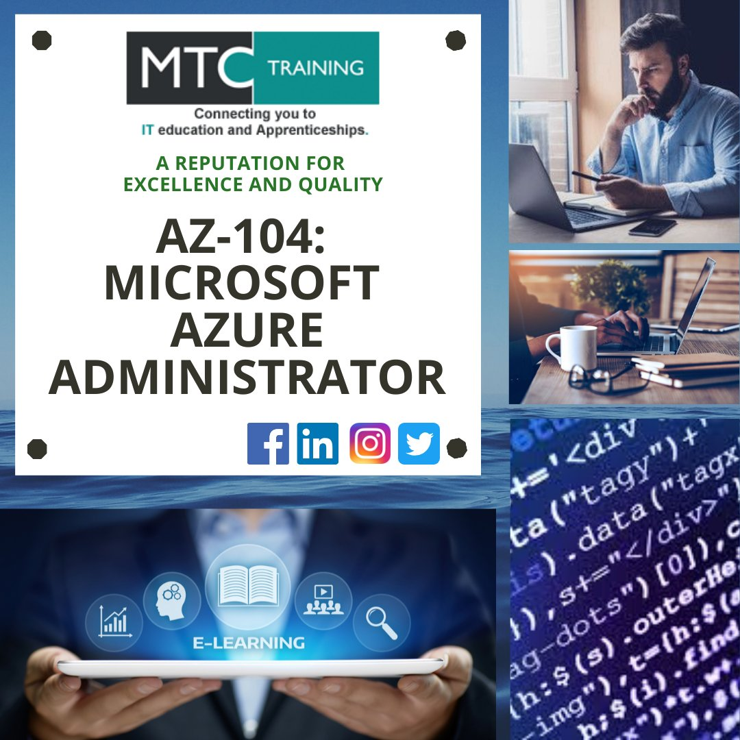 | MTC Virtual Classrooms |   The AZ-104 will measure your ability to accomplish a range of technical tasks and was released on 2nd April, 2020. More information on this course? Majed@mtc-training.co.uk |   #azure #informationtechnology #administra…