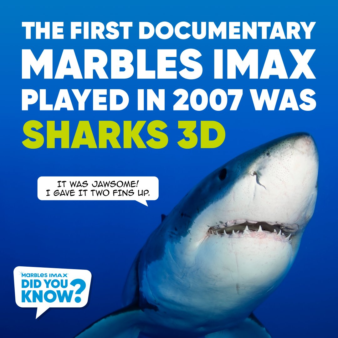 Did you know? The first documentary Marbles IMAX played in 2007 was Sharks 3D!  Directed by Jean-Jacques Mantello and narrated by Geoffrey Bateman, Sharks 3D takes you on a breathtaking underwater voyage to discover the ultimate predator: the shark.  #MarblesIMAX #IMAX https://t.co/8dFYXykIzy