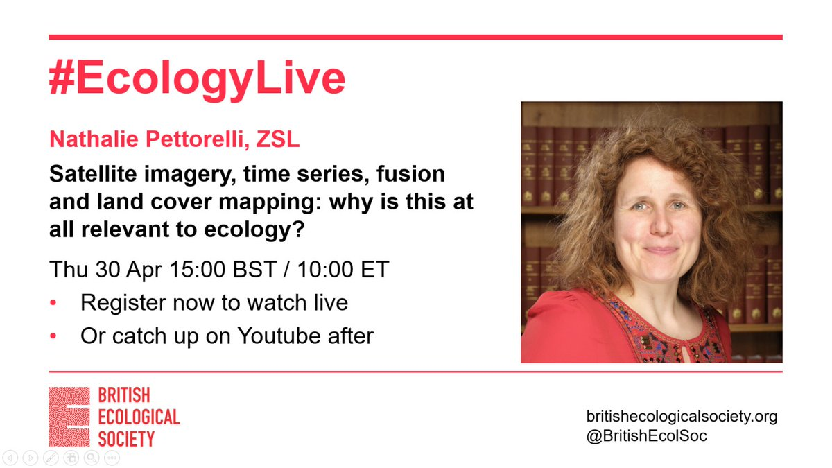 This time tomorrow: in our next #EcologyLive talk  @Pettorelli will show the possibilities new satellite imagery is opening up for mapping land cover for ecological research. Register now to watch live https://t.co/ZVEJpz4rMs Or catch up on Youtube later https://t.co/fhuaZYVZGN https://t.co/QtqVkK2dPW