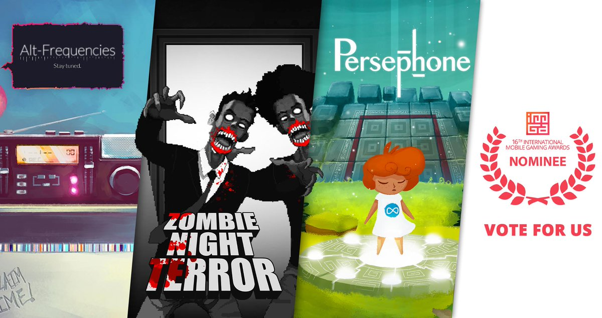 16 hours remaining before the end of the public vote! Support our games nominated for the 16th edition of the International Mobile Gaming Awards: https://t.co/j5ndR9zCtj  - #AltFrequencies - @ZN_Terror  - @PersephoneGame   @imgawards #imgawards #imga16 #imga #TeamPlugInMobile https://t.co/ZlAYHelOIq