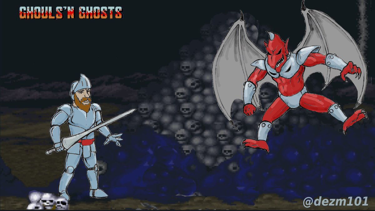 Here is some new art I have been working on featuring Arthur vs Red Arremer aka Firebrand! #retrogaming #fanart #GhoulsNGhosts #Capcom #GhostsNGoblins
