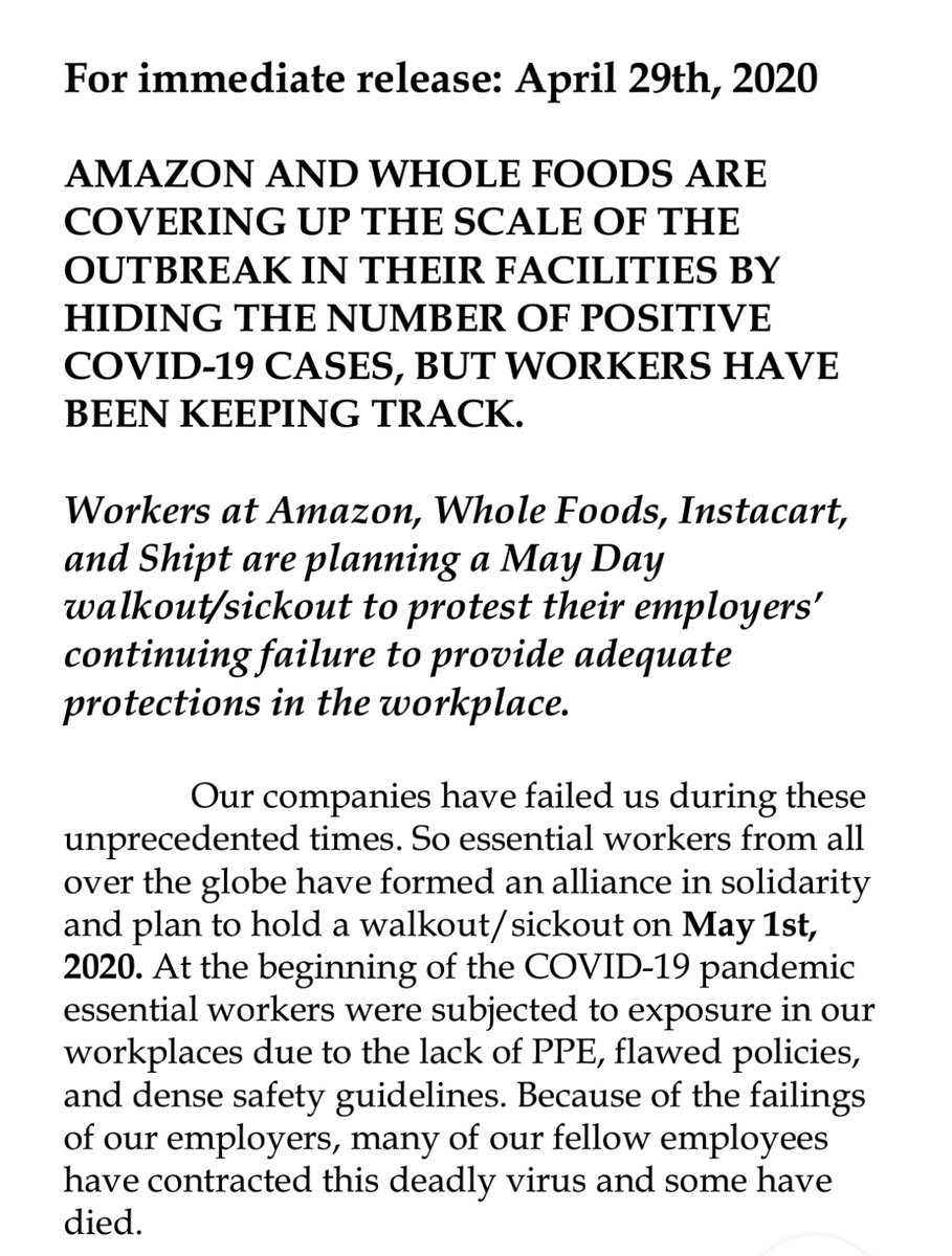 Amazon, Whole Foods, Instacart, and Shipt strike organizers official press release