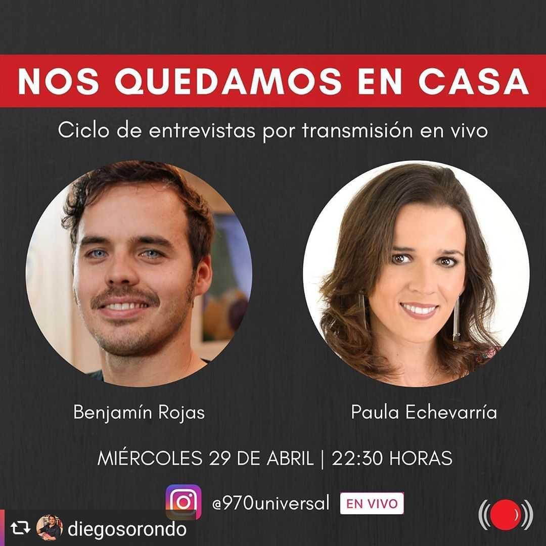 #Repost from @diegosorondo by @quicksave.app ・・・ Hoy miércoles a las 22:30 horas, no te pierdas la charla de @rojas_benja con @paulamirel en el VIVO de @970universal  #quedateencasa #uruguay #argentina #radio #vivo #entrevista #benjarojas #benjaminrojas #benjamínrojaspic.twitter.com/Wc682nnwcs