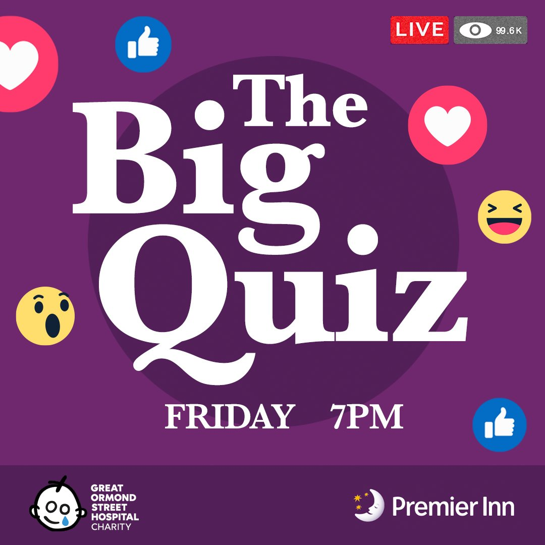 Join us on Facebook this Friday for the first of several special editions of The Big Quiz! We've teamed up with @GOSHCharity (plus a few familiar faces) across May to raise money for a brilliant cause, and give you the chance to win some great prizes!  https://t.co/eII5JtoOM7 https://t.co/AmqutCGaZl
