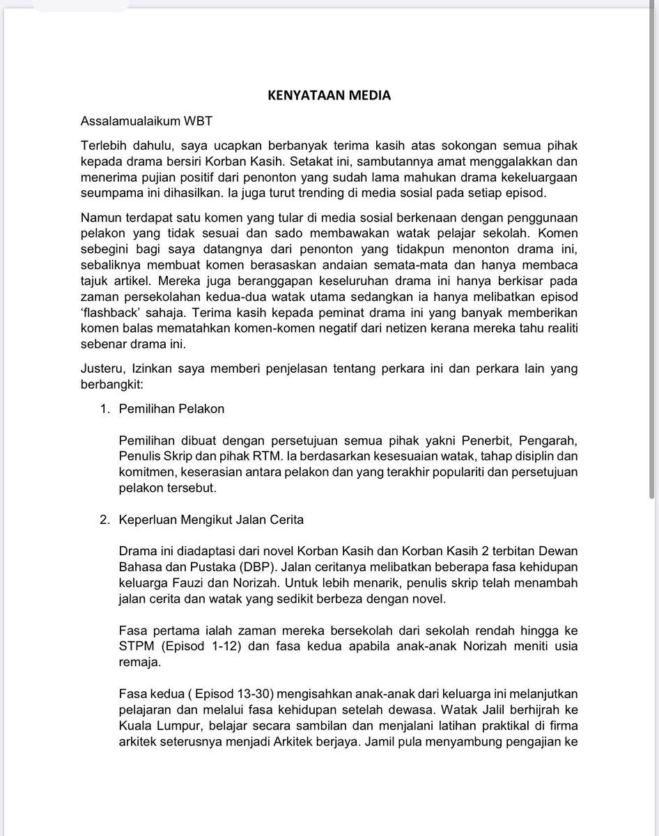 Keterangan from our director sendiri about Korban Kasih . Thanks again for all your support . #korbankasih https://t.co/bepCYv7CSk