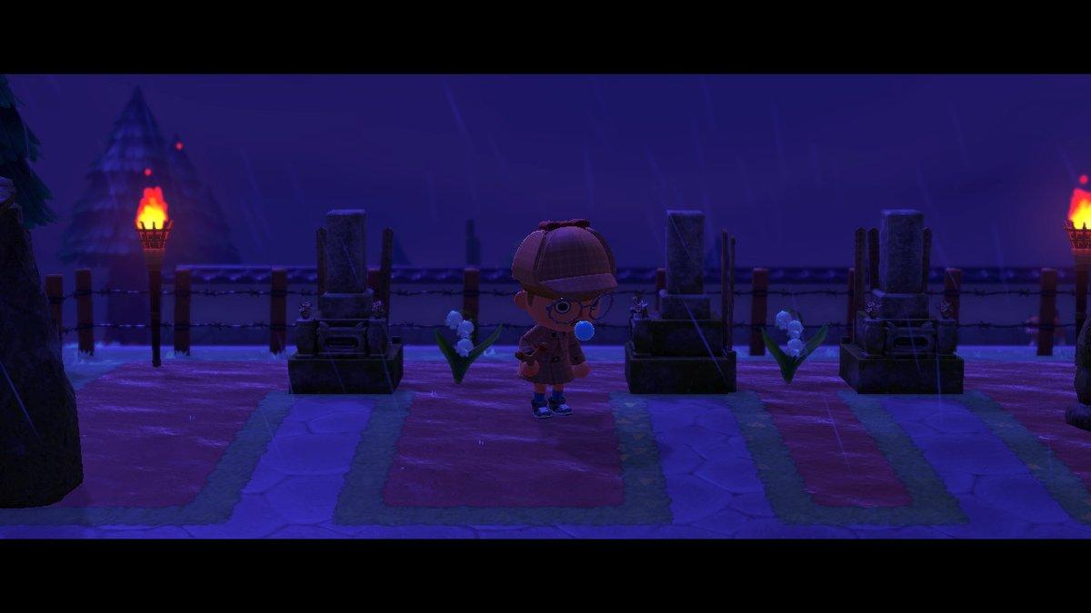 雨で夜中のお墓は怖いて... #どうぶつの森 #AnimalCrossing #ACNH #NintendoSwitch